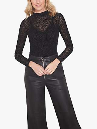 Sosandar Animal Mesh Top, Black