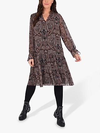 Live Unlimited Curve Paisley Print Tie Detail Dress, Brown/Multi