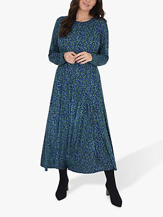 Live Unlimited Curve Printed Ditsy Dress, Green/Multi