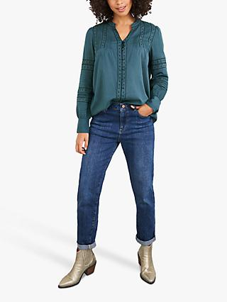 White Stuff Nolan Embroidered Shirt, Mid Teal