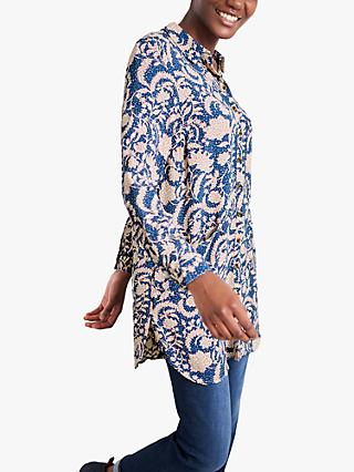 White Stuff Danika Floral Print Tunic Shirt, Navy/Multi