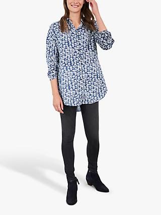 White Stuff Sewing Floral Print Tunic Top, Blue/Multi