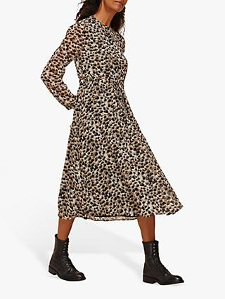 Whistles Brushmark Animal Print Midi Dress, Multi