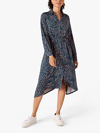 Monsoon Abstract Print Midi Dress, Blue