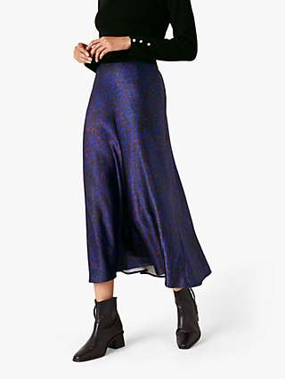 Monsoon Satin Animal Midi Skirt, Blue