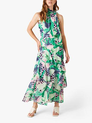 Monsoon Halterneck Floral Maxi Dress, Green