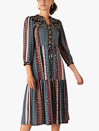Monsoon Geometric Midi Dress, Multi
