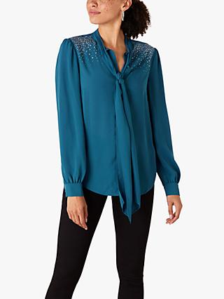 Monsoon Tie Neck Blouse, Teal