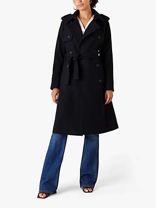 Monsoon Wool Trench Coat, Navy