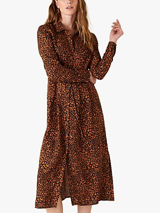 Monsoon Animal Print Shirt Dress, Black/Orange