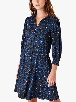 Monsoon Non Ditsy Floral Jersey Shirt Dress, Black