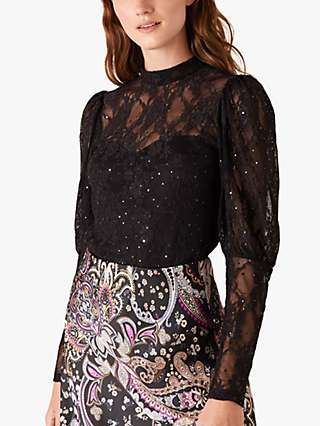 Monsoon Layla Lace Floral Embellished Top, Black