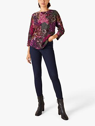 Monsoon Patch Paisley Print Top, Pink
