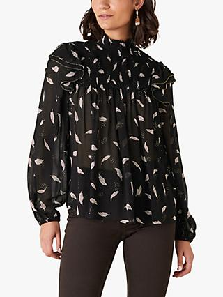 Monsoon Feather Blouse, Black