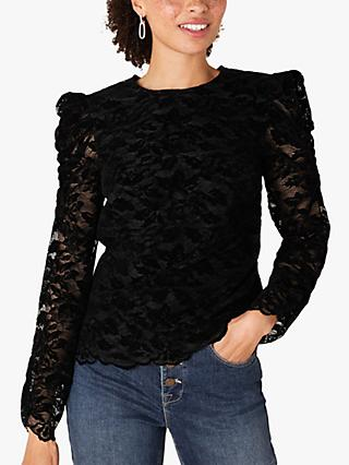 Monsoon Flocked Lace Floral Top, Black