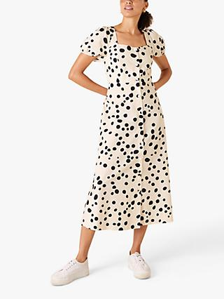 Monsoon Square Neck Spotted Midi Dress, Ivory