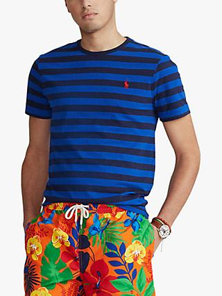 Polo Ralph Lauren Custom Fit Crew Neck Stripe T-Shirt, Blue/Navy