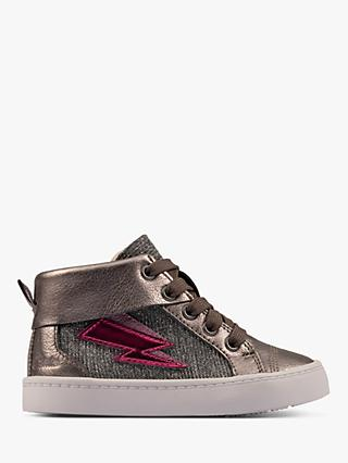 Clarks Junior City Myth High Top Trainers, Pewter