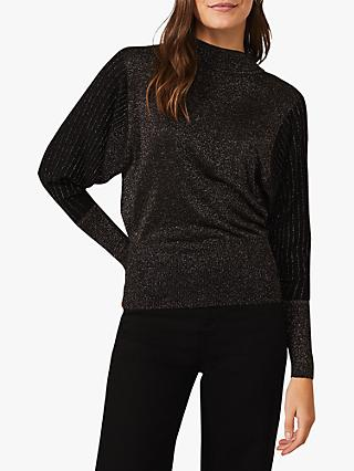 Phase Eight Gigi Metallic Bodice Velvet Batwing Top, Black