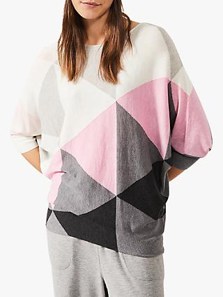 Phase Eight Becca Colour Block Knit Top, Soft Pink