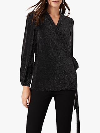 Phase Eight Stardust Wrap Top, Black