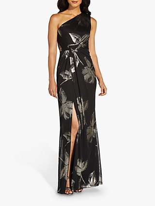 Adrianna Papell Petite Floral Draped Maxi Gown, Black/Gold