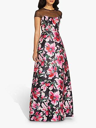 Adrianna Papell Floral Maxi Gown, Black/Pink