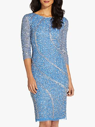 Adrianna Papell Long Sleeve Embellished Cocktail Knee Length Dress, Ocean Dream