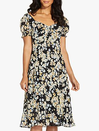 Adrianna Papell Back Floral Knee Length Dress, Black/Multi