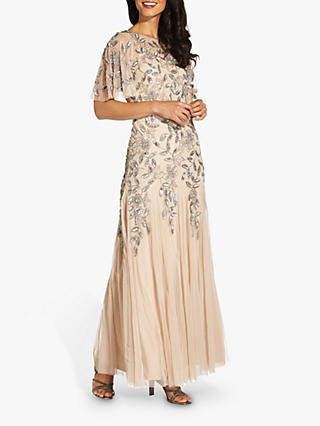 Adrianna Papell Beaded Embroidered Maxi Gown, Taupe/Pink