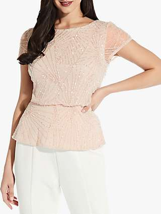 Adrianna Papell Beaded Blouson Top, Pink