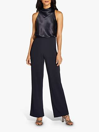 Adrianna Papell High Neck Satin Crepe Jumpsuit, Midnight