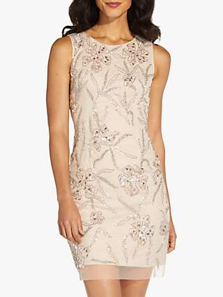 Adrianna Papell Beaded Floral Mini Dress, Biscotti