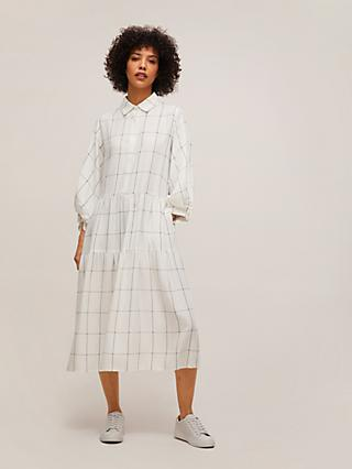 Mother of Pearl Check Tiered Shirt Dress, White