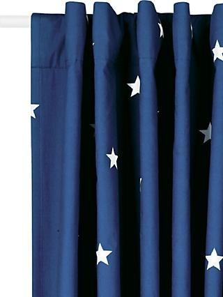 Great Little Trading Co Stardust Print Pencil Pleat Blackout Lined Children's Curtains, Navy