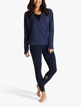 M Life Serenity Long Sleeve Crossover Yoga Top, Navy
