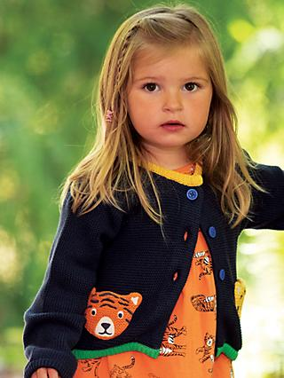 Frugi Children's GOTS Organic Cotton India Tiger Cardigan, Navy