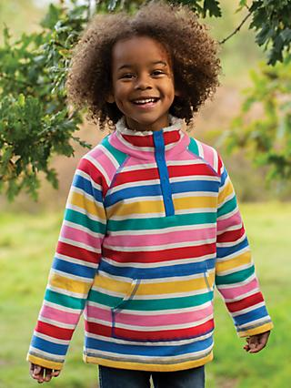 Frugi Children's Organic Cotton Snuggle Fleece Jumper, Rainbow
