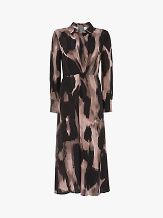Mint Velvet Nova Abstract Print Shirt Dress, Dark Blush/Black
