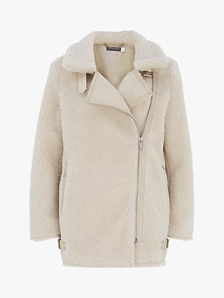 Mint Velvet Aviator Zipped Jacket, Cream