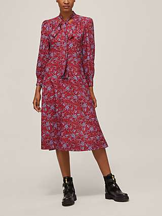 See By Chloé Sweetheart Floral Midi Dress, Black/Red