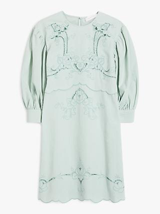 See By Chloé Embroidered Puff Sleeve Mini Dress, Autumnal Blue