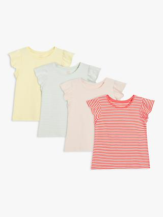 John Lewis & Partners Kids' Stripe and Plain Frill Sleeve T-Shirts, Pack of 4, Multi