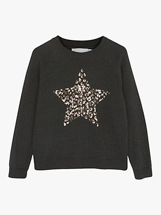 Mintie by Mint Velvet Sequin Star Jumper, Black