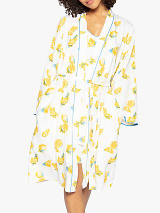 Cyberjammies Phoebe Lemon Dressing Gown, White/Yellow