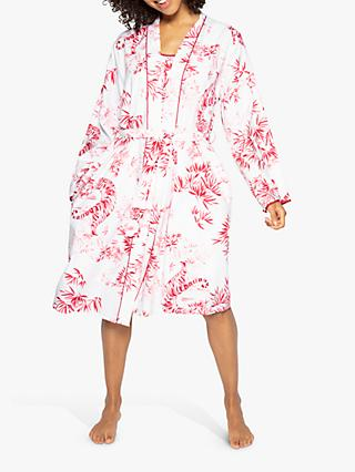 Cyberjammies Kristen Tiger Print Dressing Gown, Red/White