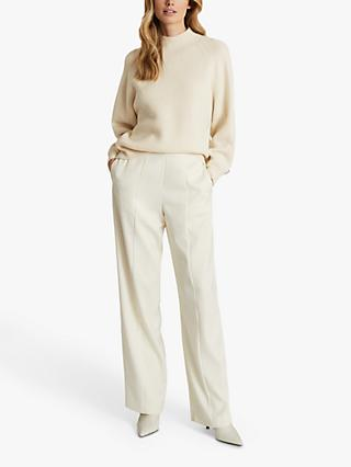 Reiss Willow Cashmere Blend Button Detail Jumper, Cream