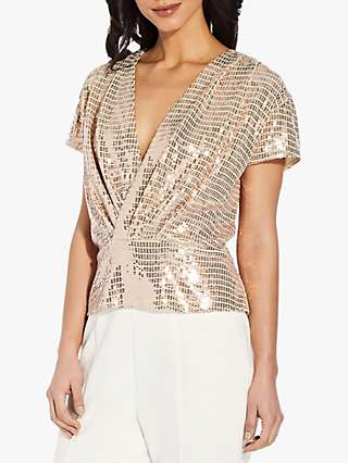 Adrianna Papell Foil V-Neck Top, Champagne