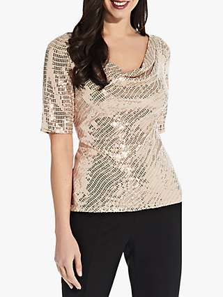 Adrianna Papell Foil Cowl Neck Top, Champagne