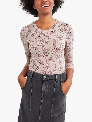 White Stuff Peony Puff Sleeve Abstract Print Tee, Grey/Multi